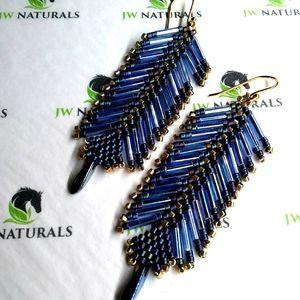 ⭐HP⭐ Handmade Blue Gold Feather beaded Earrings